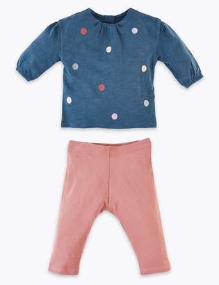Marks and Spencer Jersey Pom Pom Top & Bottom Outfit
