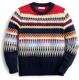 J.Crew crewcuts by Colorful Fair Isle Crewneck Sweater