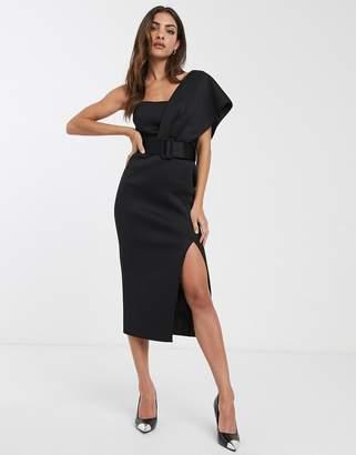 Asos Design DESIGN one shoulder belted scuba midi dress-Black