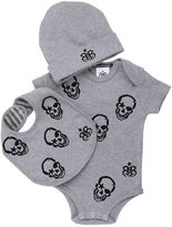 Rock Star Baby Skulls Bodysuit, Beanie & Bib Set