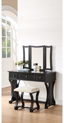 Welling Vanity Set with Stool and Mirror Darby Home Co Color: Black
