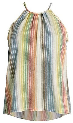 For The Republic Rainbow Stripe Halter Top