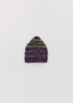 House of the Very Islands Hand Knit Stripe Beanie Purple Multi