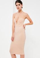 Missguided Petite Nude Scuba Plunge Bandeau Midi Dress