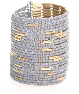 Marc Labat Ethnic Chic Cuff Bracelet 13E183 Women's Gold-Plated Metal 6 cm