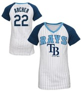 MLB Tampa Bay Rays Girls' Chris Archer Pinstripe T-Shirt Jersey