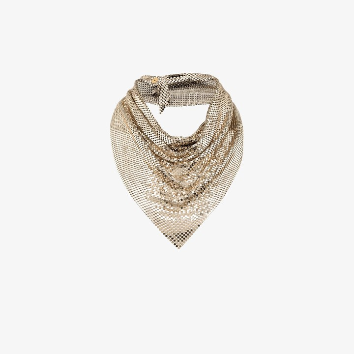 Paco Rabanne Gold tone draped metal mesh necklace