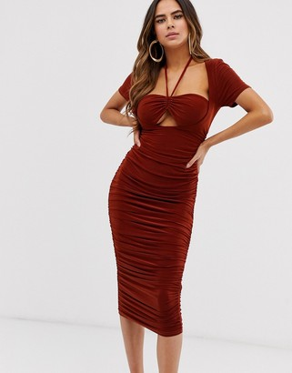Club L London ruched bra top midi dress with halterneck detail in rust