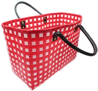 Neyuh Leather The Recycled Plastic Shopper Bag - Red With Leather