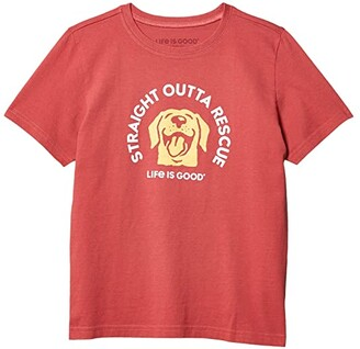 Life is Good Straight Outta Rescue Crusher Tee (Little Kids/Big Kids) (Faded Red) Boy's Clothing