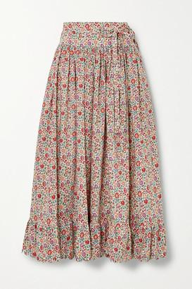 Horror Vacui Agatha Scalloped Floral-print Cotton-poplin Midi Skirt - Pink