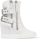 Giuseppe Zanotti Buckled leather wedge sneakers