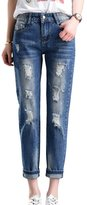 PHOENISING Women's Ripped Hole Boyfriend Style Jeans Straight Leg Pants