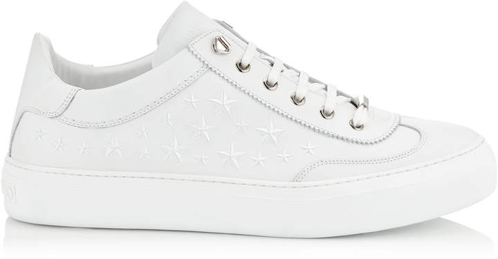 Jimmy Choo ACE Ultra White Sport Calf Leather Low Top Trainers with Embossed Stars