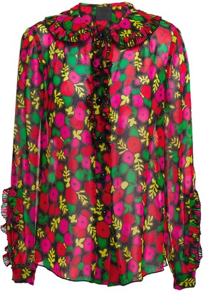 Anna Sui Pussy-bow Pleated Ruffled Floral-print Silk-chiffon Shirt