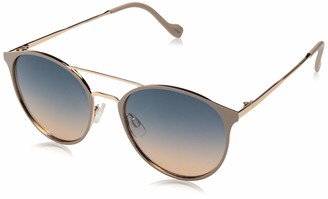 Jessica Simpson Women's J5564 Round Mixed Metal Sunglasses with Metal Brow Bar and Temple and 100% UV Protection 60 mm