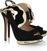 Nicholas Kirkwood Suede and metallic leather sandals