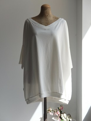 Truenyc. White Cotton Dani T-Shirt - XS (0)   white - White/White