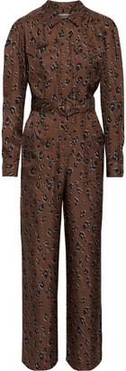 Nicholas Belted Leopard-print Silk-twill Wide-leg Jumpsuit