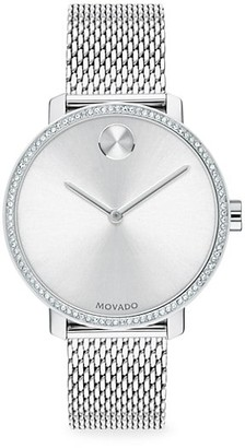 Movado Bold Ion-Plated Stainless Steel, Crystal & Mesh-Link Bracelet Watch