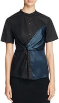 DKNY Mixed Media Twist Front Shirt
