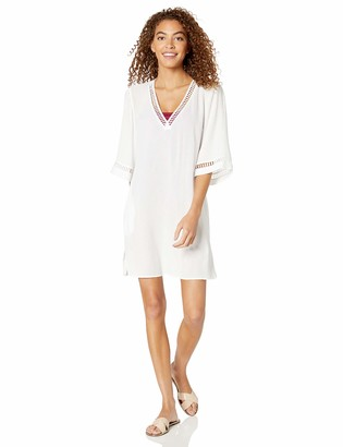 Jets Women's Crochet Trim Tunic Swimsuit Cover Up Dress