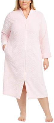 Miss Elaine Plus Size Jacquard Cuddle Fleece Long Zipper Robe