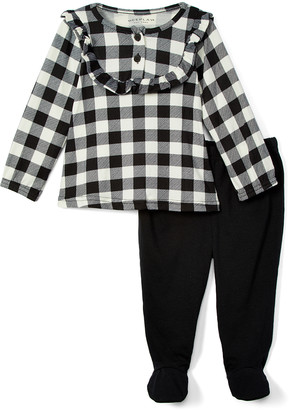 Wee Play Girls' Tee Shirts - White & Black Plaid Ruffle-Accent Long-Sleeve Top & Footie Pants - Newborn & Infant