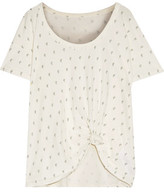 Current/Elliott The Slouchy Distressed Printed Cotton-Jersey T-Shirt