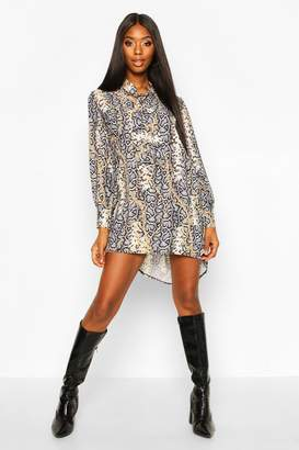 boohoo Woven Chain Snake Print Pussy Bow Shift Dress