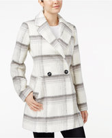 Amy Byer Juniors' Double-Breasted Plaid Coat