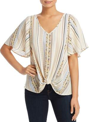 Status by Chenault Printed Knot-Front Top