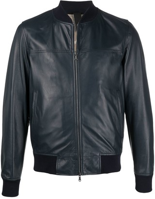 Orciani Zip-Up Leather Bomber Jacket