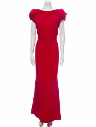 Marchesa Silk Long Dress Red