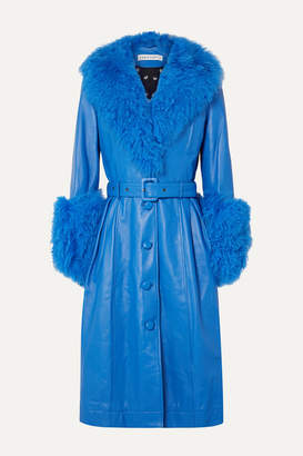 Saks Potts Foxy Belted Shearling-trimmed Leather Coat - Bright blue