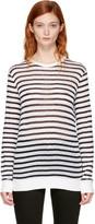 Alexander Wang Navy and Ivory Long Sleeve Striped Crewneck T-shirt