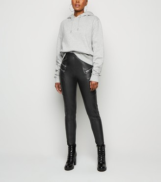 New Look Coated Leather-Look Biker Leggings