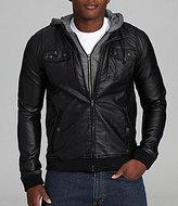 Chor Marled Hooded Faux Leather Jacket