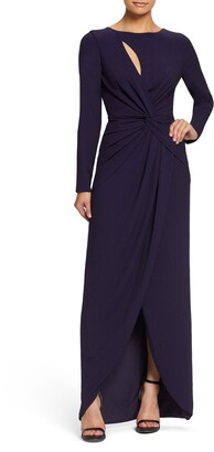 Dress the Population Naomi Long Sleeve Twist Crepe Gown