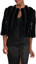 Monique Lhuillier Mink Fur Jacket With Sequins