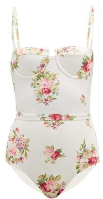 Zimmermann Honour Floral-print Balconette Swimsuit - Womens - Cream