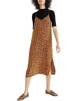 Madewell Leopard Slip Dress W/O Buttons