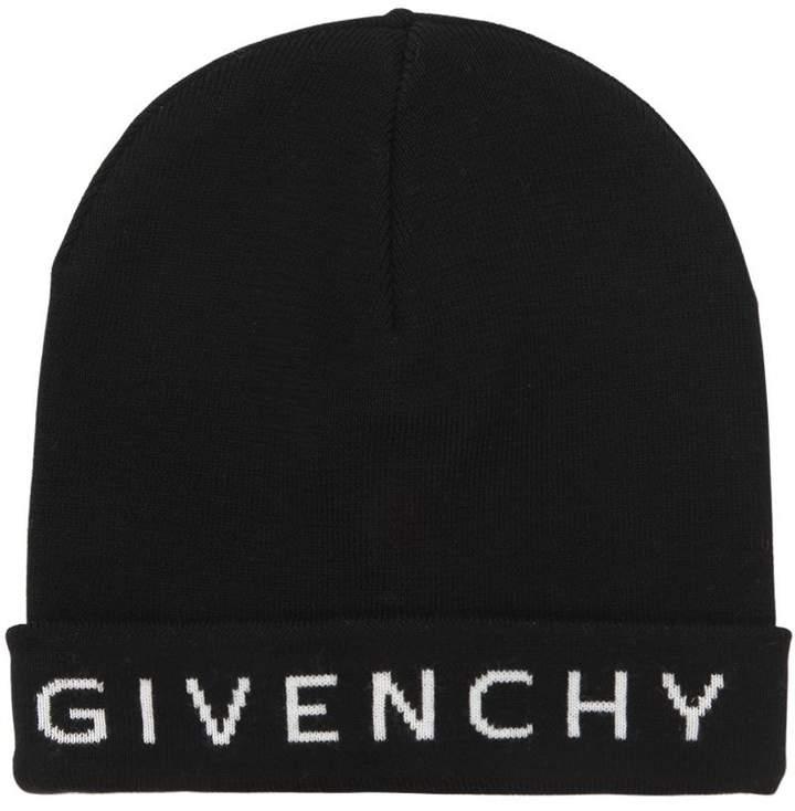Givenchy Logo Intarsia Wool Beanie Hat