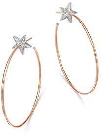 Own Your Story 14K Rose Gold Cosmos Diamond Star Bright Hoop Earrings