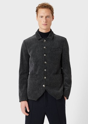 Giorgio Armani Single-Breasted Jacket In Printed Velvet Seersucker