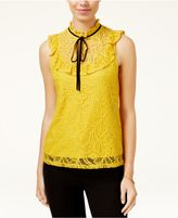 Lily Black Juniors' Lace Ruffle Top, Created for Macy's