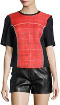 3.1 Phillip Lim Short-Sleeve Boxy Surf Plaid Top, Poppy