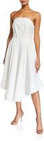 C/Meo Vibrant Strapless Pleated Dress