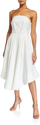 C/Meo Vibrant Strapless Pleated Dress