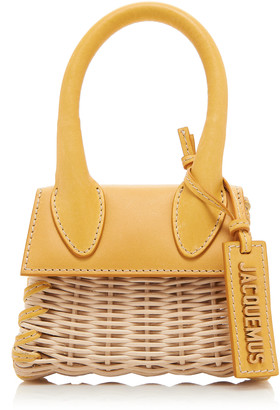 Jacquemus Le Chiquito Leather-Trimmed Wicker Top Handle Bag